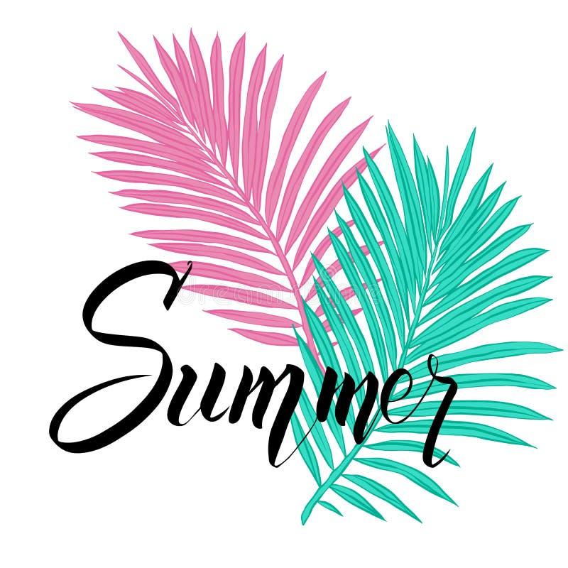 与热带棕榈叶和手写字法的夏天海报 库存例证
