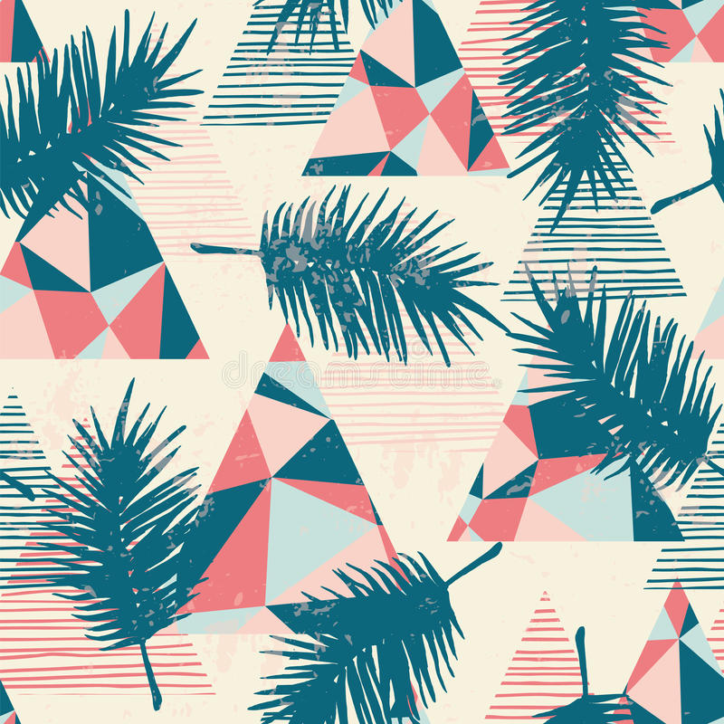与热带棕榈叶的无缝的异乎寻常的样式在几何背景 皇族释放例证