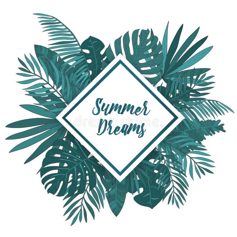 与热带棕榈叶的框架 与rhomb地方的绿色异乎寻常的背景文本的 皇族释放例证
