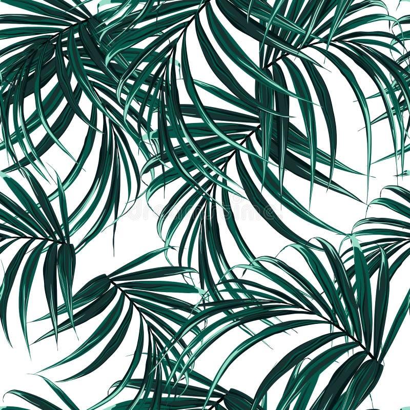 与热带棕榈叶的美好的无缝的花卉样式背景 为墙纸完善 向量例证
