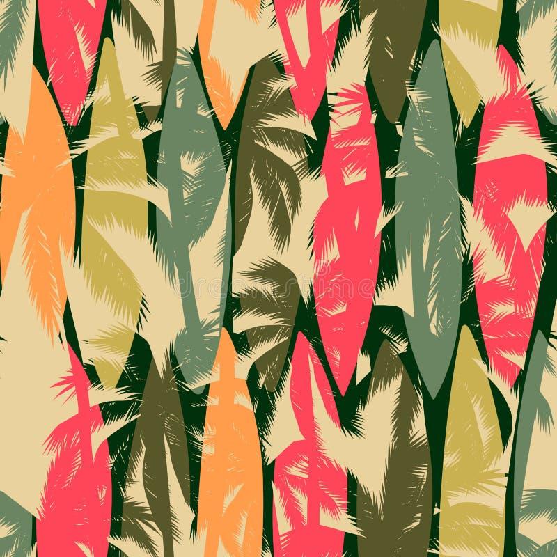 与热带棕榈的抽象无缝的样式 E 皇族释放例证