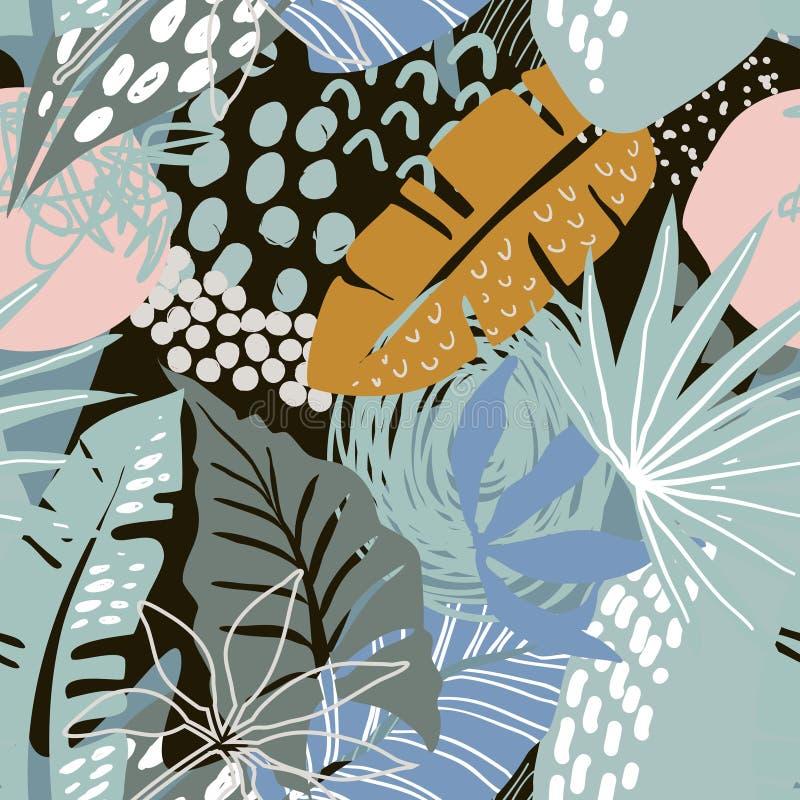 与热带植物和手拉的抽象纹理的传染媒介无缝的样式 库存例证