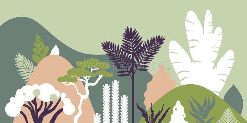 与热带植物和树,棕榈,多汁植物的山多小山风景 斯堪的纳维亚样式 环境保护,生态 库存例证