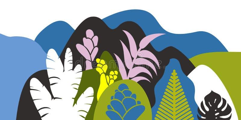 与热带植物和树,棕榈,多汁植物的山多小山风景 斯堪的纳维亚样式 环境保护,生态 向量例证