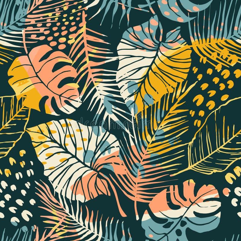 与热带植物和艺术性的背景的摘要创造性的无缝的样式 皇族释放例证