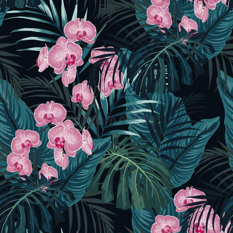 与热带植物的夏天五颜六色的夏威夷无缝的样式 库存例证