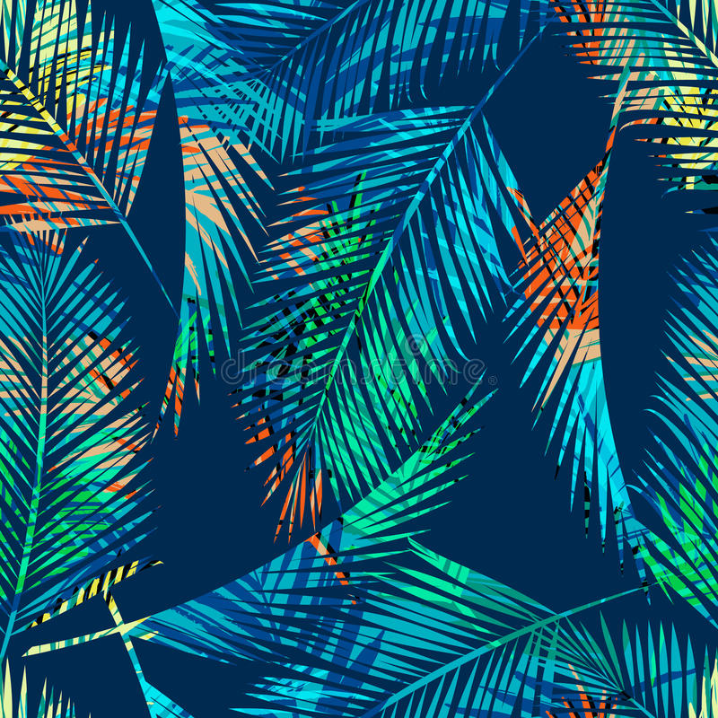 与热带植物的无缝的异乎寻常的样式 皇族释放例证