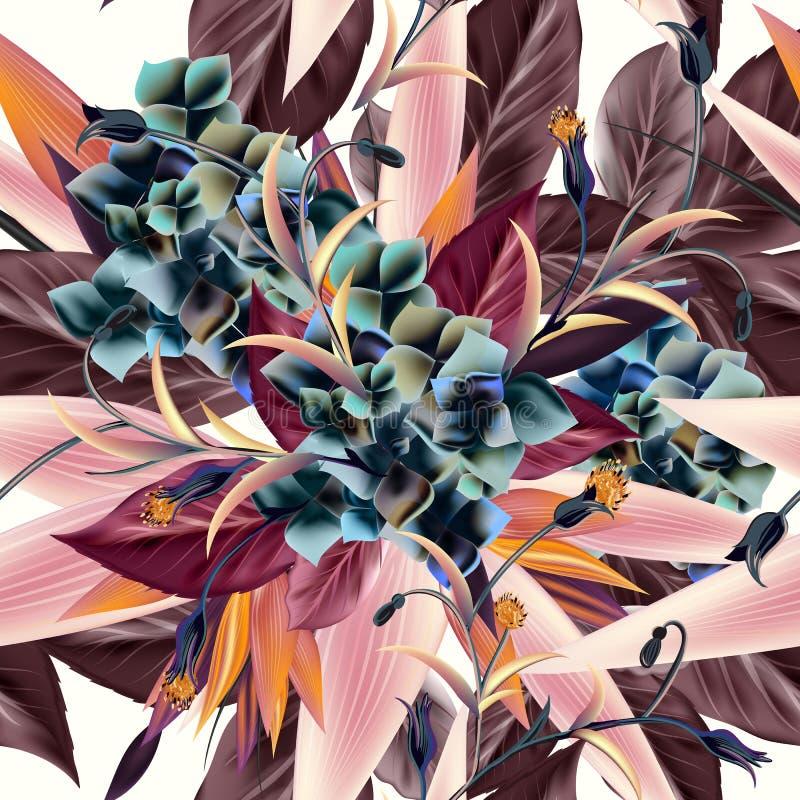 与热带植物,叶子的美好的传染媒介样式 织品的理想打印样式 皇族释放例证