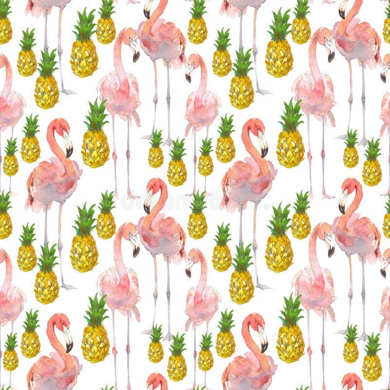 与热带火鸟和菠萝的美好的无缝的夏天样式背景 为墙纸,网页完善 库存例证