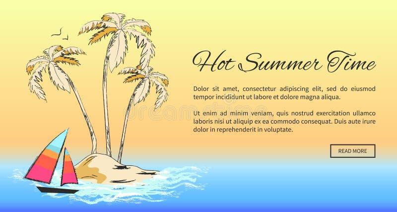 与热带珊迪岛的热的夏时横幅 向量例证