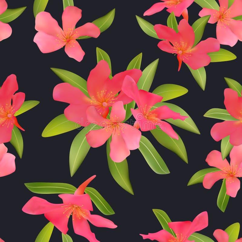 与热带红色的无缝的样式开花美好的开花pla 皇族释放例证