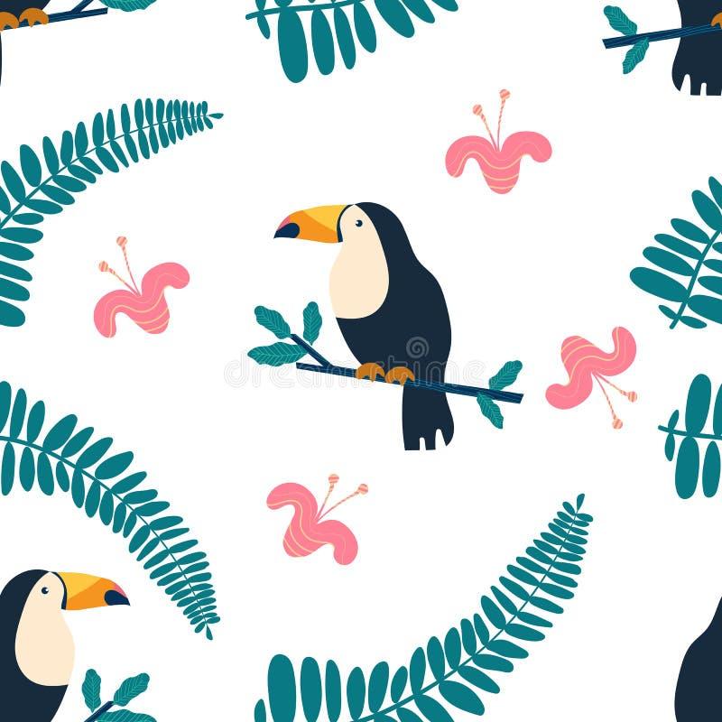 与热带花、叶子和toucans的花卉背景 时髦的织品设计的传染媒介无缝的样式 库存例证