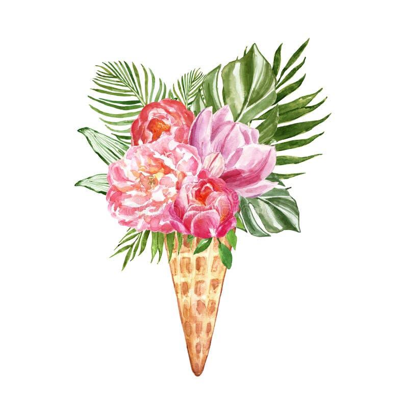 与热带花卉构成的手拉的夏天例证 花和绿色叶子在奶蛋烘饼锥体,被隔绝 卡片设计 向量例证