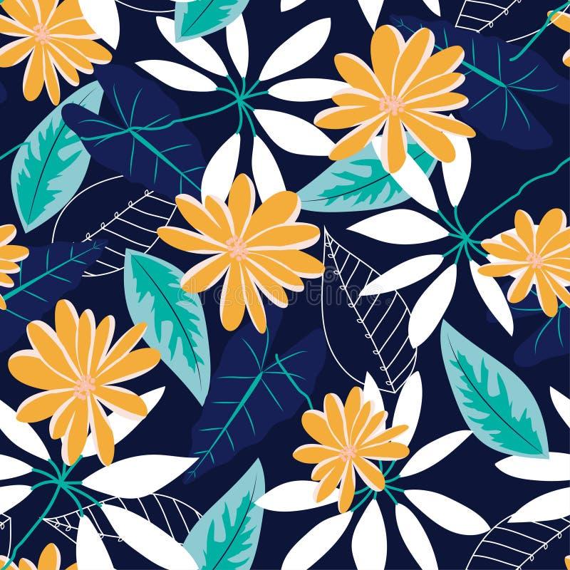 与热带花和叶子的原始的无缝的样式在蓝色背景 E 密林印刷品 打印和纺织品 向量例证