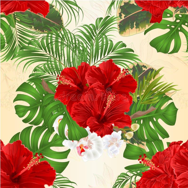 与热带花植物布置的无缝的纹理花束,与美丽的红色木槿和兰花棕榈、爱树木的人和f 库存例证