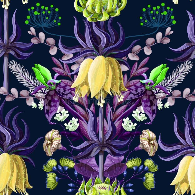 与热带花的无缝的样式在蓝色颜色和对称构成 向量例证