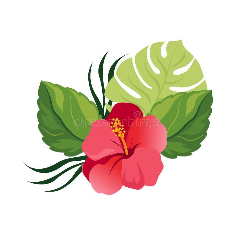 与热带花的花束 典雅的花卉传染媒介构成 五颜六色的动画片例证 向量例证
