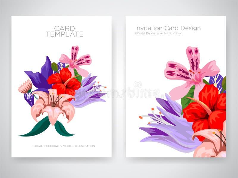 与热带花的请帖卡片设计,邀请感谢您,rsvp现代卡片设计 热带明亮的叶子分支 库存例证