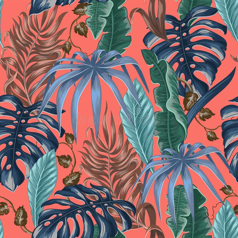 与热带香蕉、棕榈和monstera叶子的无缝的样式在居住的珊瑚背景的织品设计的 库存例证