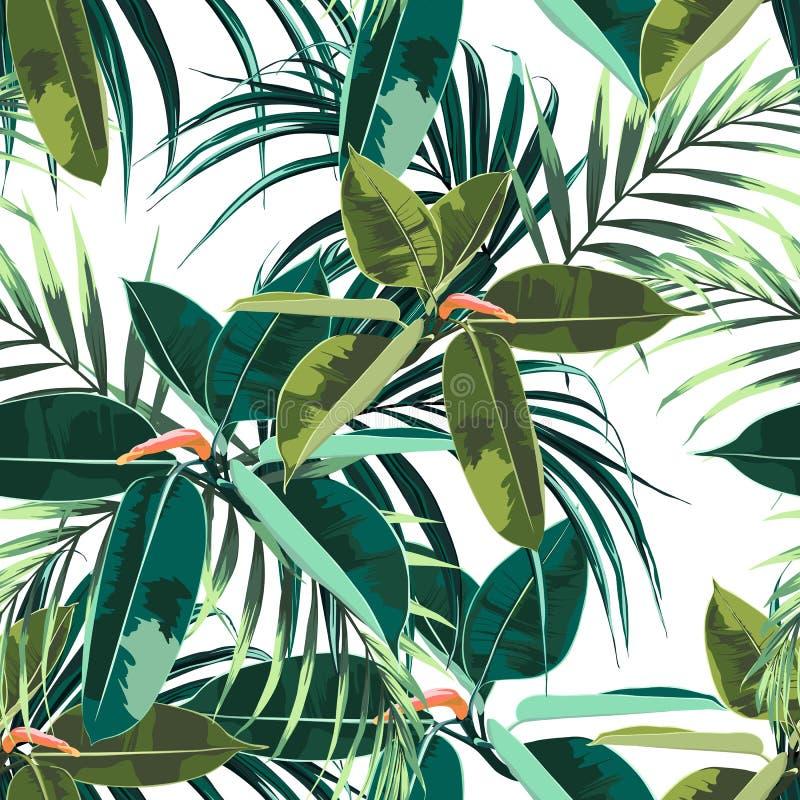 与热带黑暗和明亮的榕属elastica和棕榈叶的美好的无缝的花卉样式背景 向量例证