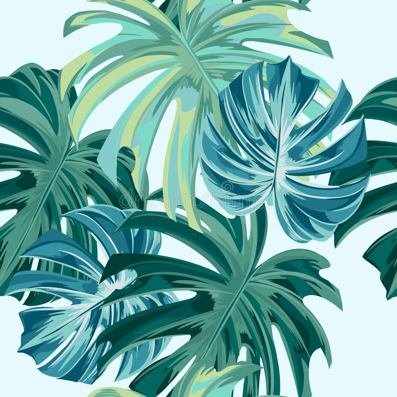 与热带monstera叶子的时尚传染媒介例证无缝的织品的样式,理想和纺织品 向量例证