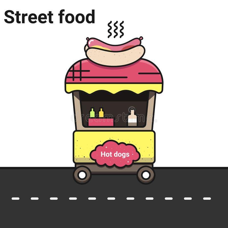 与热狗的一个摊位 街道食物 皇族释放例证