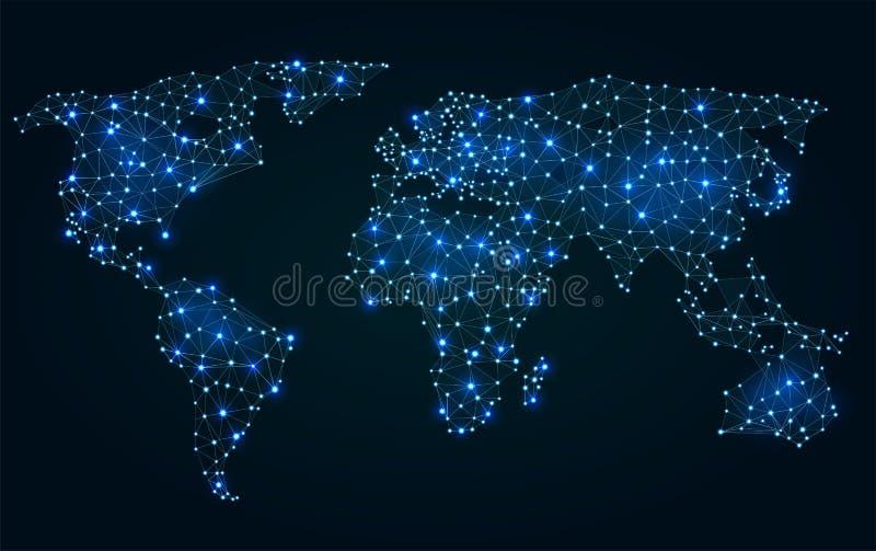 与热的点的抽象多角形世界地图 库存例证