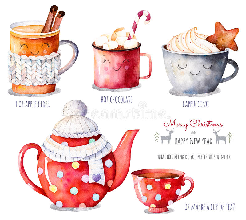 与热的饮料选择的水彩汇集:苹果汁,茶,巧克力,热奶咖啡