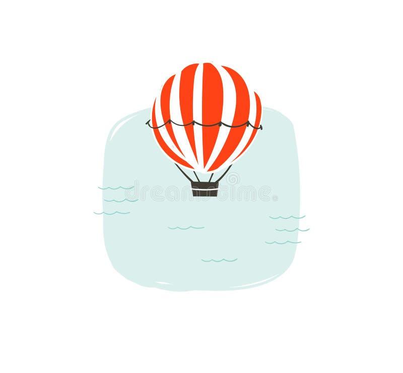 与热空气气球和简单的蓝色海浪的手拉的传染媒介摘要动画片夏时乐趣例证 库存例证