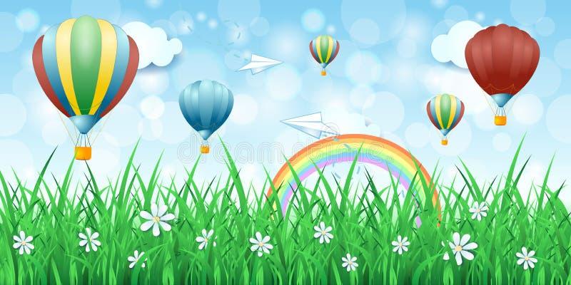 与热空气气球的春天背景 皇族释放例证
