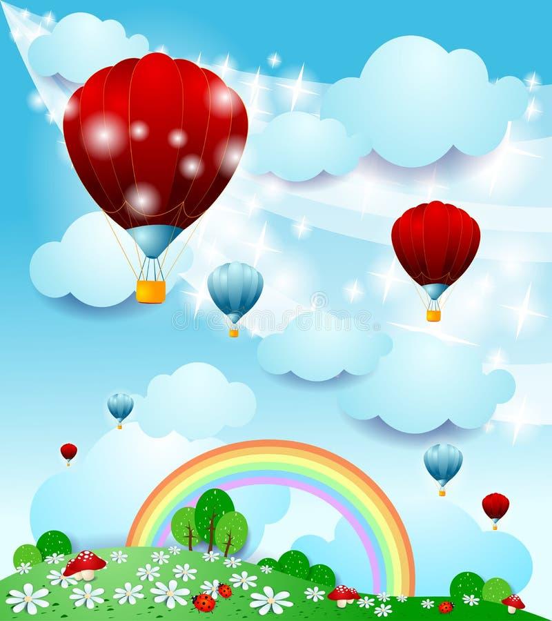 与热空气气球的幻想风景 向量例证