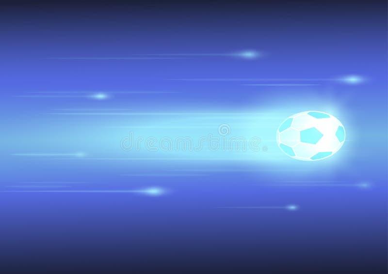 与焕发线的足球在蓝色背景 免版税库存照片