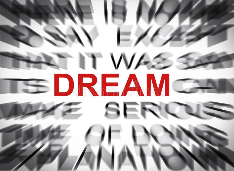 与焦点的Blured文本在梦想 免版税库存图片