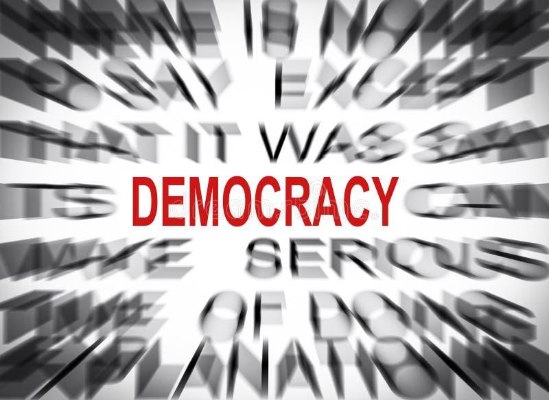 与焦点的Blured文本在民主 免版税库存图片