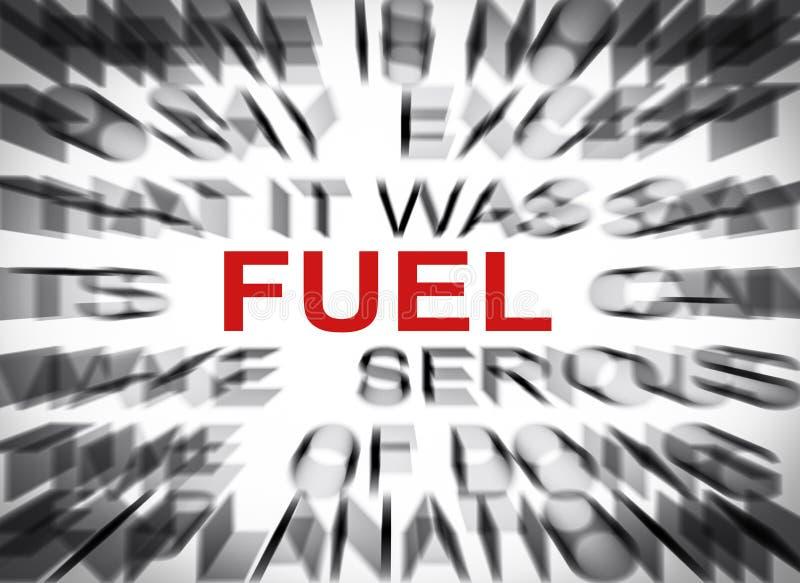 与焦点的Blured文本在燃料 图库摄影
