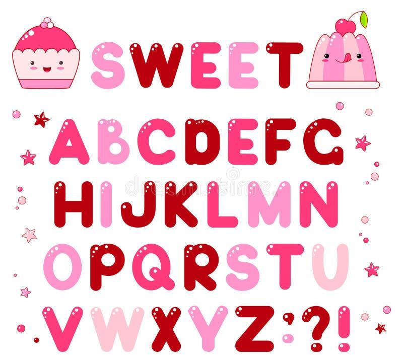与焦糖糖果发光的信件的传染媒介字母表 向量例证