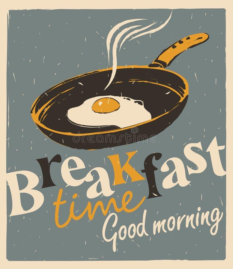 与煎锅和煎蛋的早餐时间 向量例证
