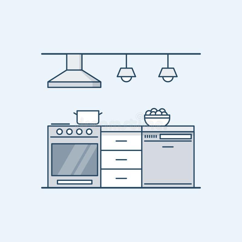 与煤气炉和洗碗机的现代厨房内部 固定装置 在一个线性样式的传染媒介例证 库存例证