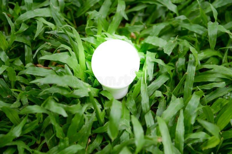 与照明设备的LED电灯泡-保存照明设备技术 免版税库存图片