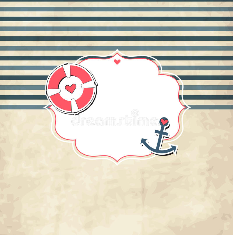 与照片框架的葡萄酒船舶小块模板 皇族释放例证