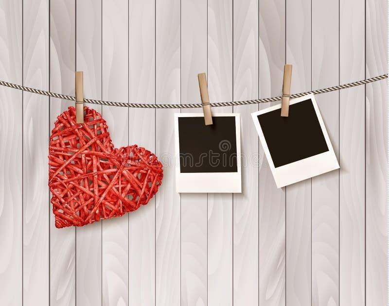 与照片的红色木心脏 向量例证