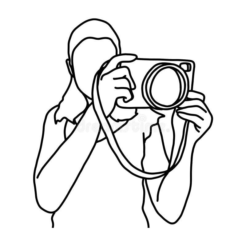与照相机传染媒介例证剪影乱画的妇女照相手拉与在白色背景隔绝的黑线 皇族释放例证