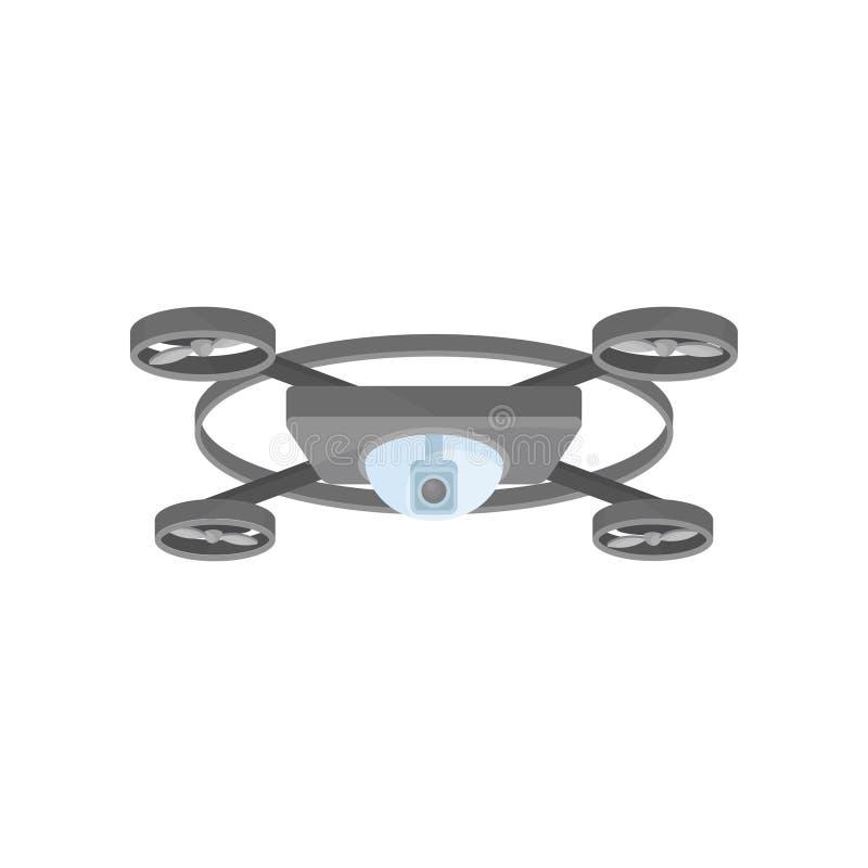 与照相机和4个动叶片的灰色飞行寄生虫 遥控quadrocopter 空中无人通信工具 平的传染媒介 皇族释放例证