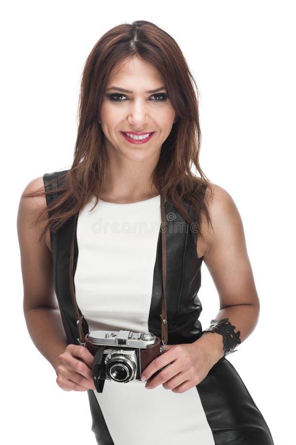 与照相机的女性模型 图库摄影