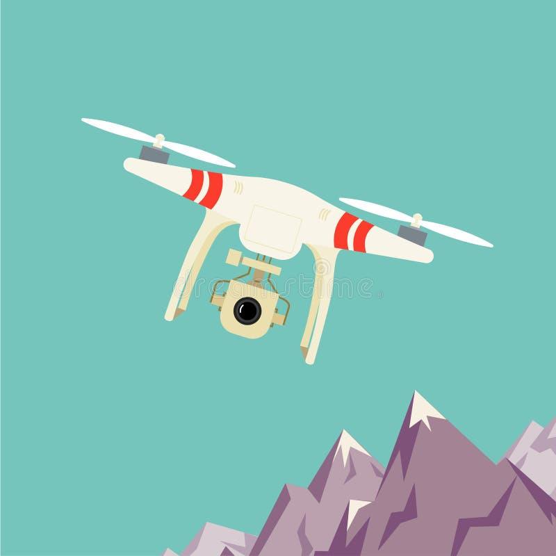 与照相机的遥远的空中寄生虫 向量例证
