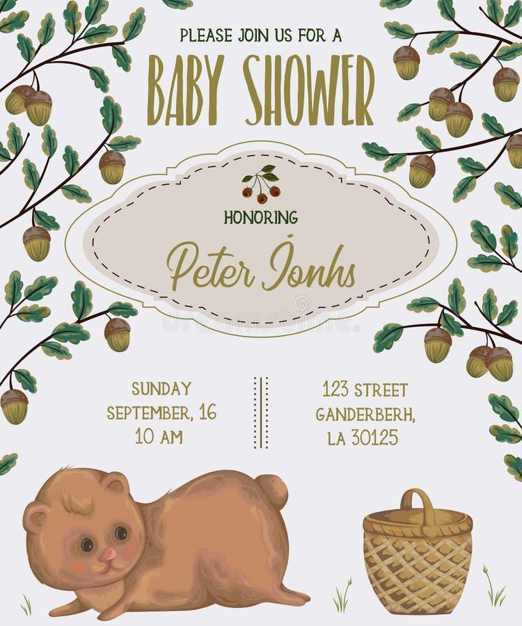 与熊、篮子、橡木和橡子的婴儿送礼会邀请 库存例证