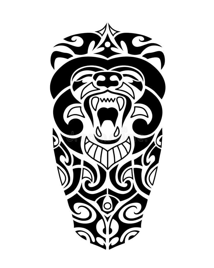 与熊头的纹身花刺剪影毛利人样式 向量例证