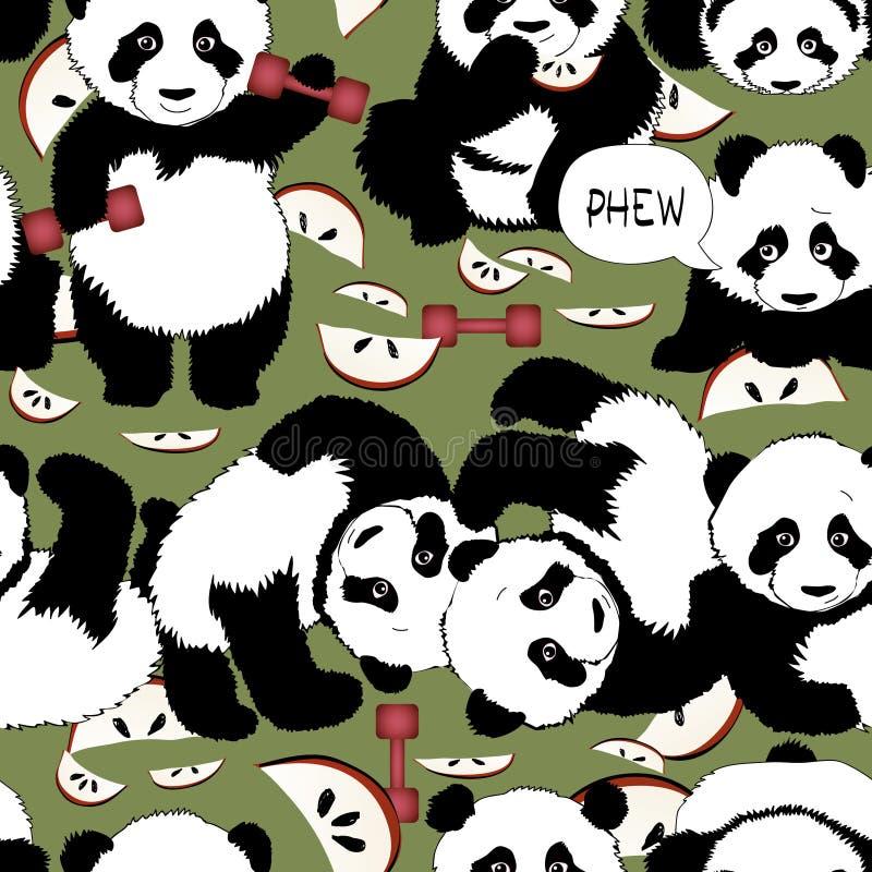 与熊猫的健康生活方式 向量例证