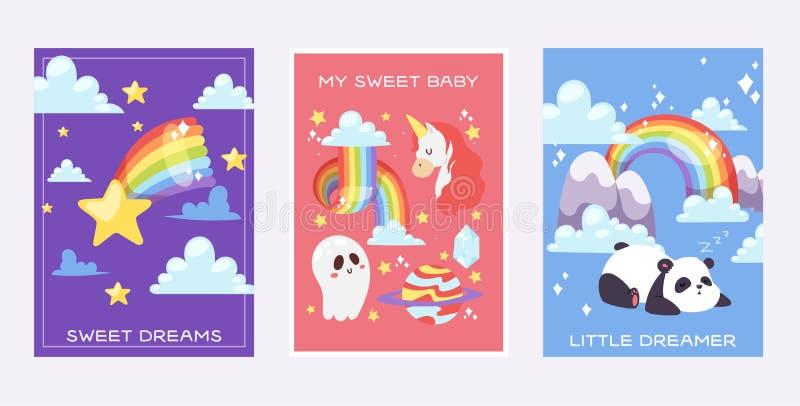 与熊猫,独角兽天气传染媒介例证的彩虹梦想卡片明亮的五颜六色的天空 光谱曲线幻想 向量例证