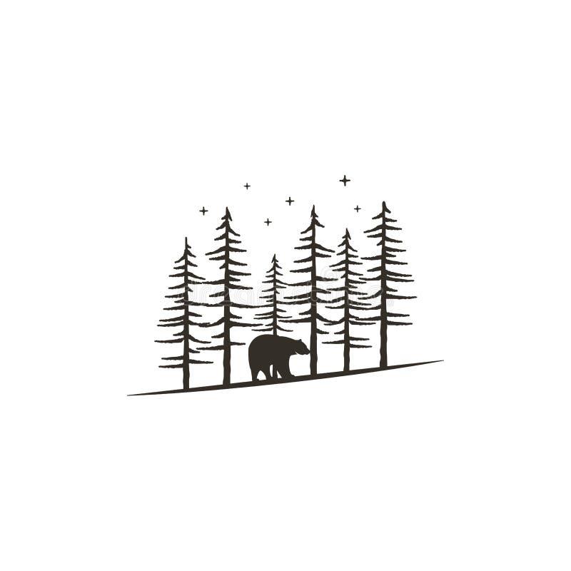 与熊的葡萄酒手拉的森林概念 印刷品的, T恤杉,旅行黑单色设计抢劫,纹身花刺 减速火箭 库存例证